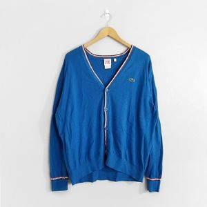 LACOSTE Blue Button Down Wool Blend Cardigan